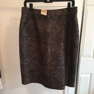 Coldwater Creek Brown Pencil Skirt Paisley Size 12